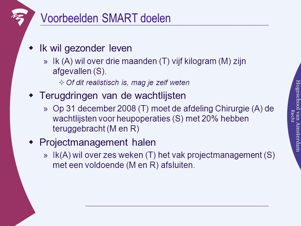 Voorbeelden SMART doelen