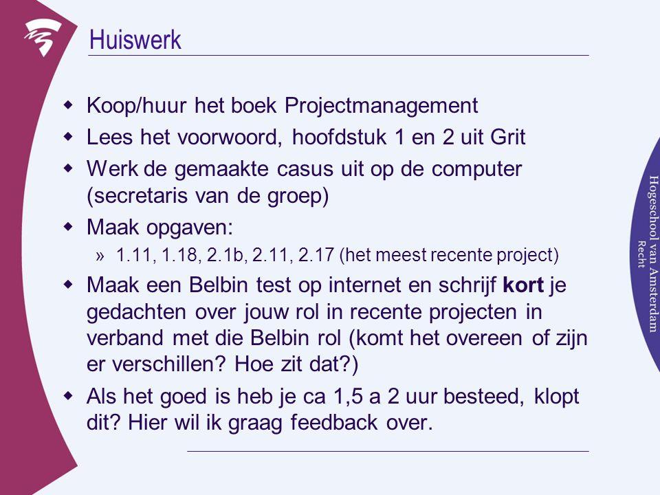 Huiswerk Koop/huur het boek Projectmanagement