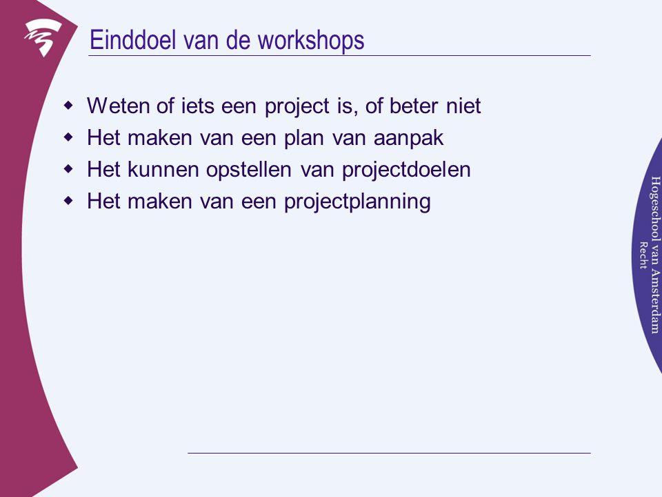 Einddoel van de workshops