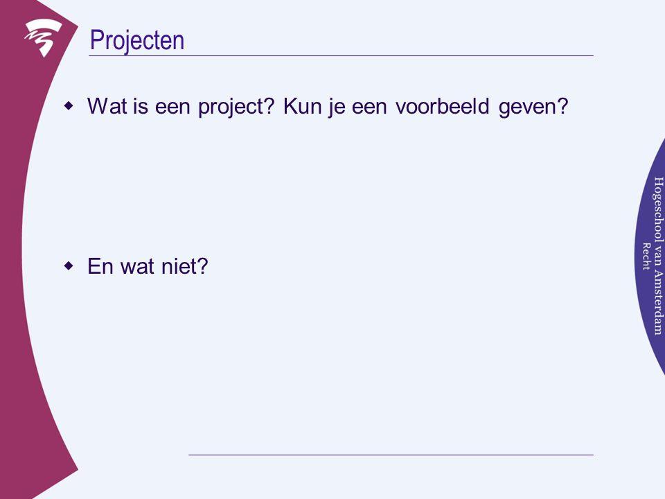 Projecten Wat is een project Kun je een voorbeeld geven En wat niet