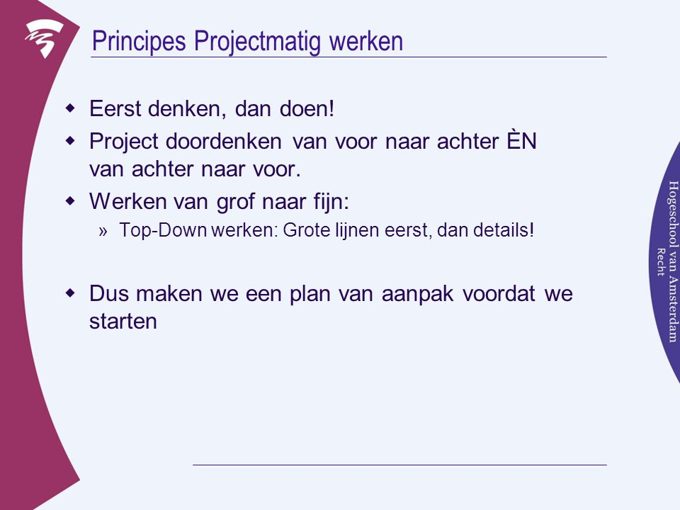 Principes Projectmatig werken