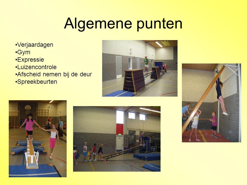 Algemene punten Verjaardagen Gym Expressie Luizencontrole