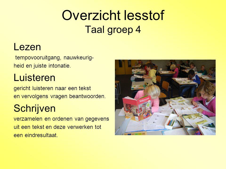 Overzicht lesstof Taal groep 4