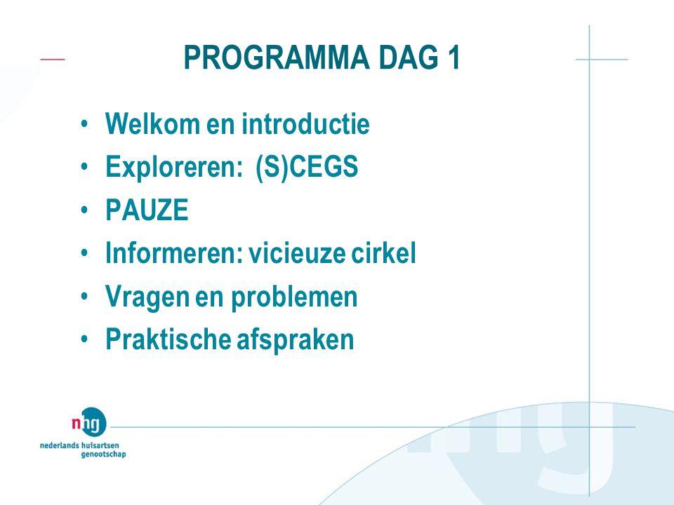 PROGRAMMA DAG 1 Welkom en introductie Exploreren: (S)CEGS PAUZE