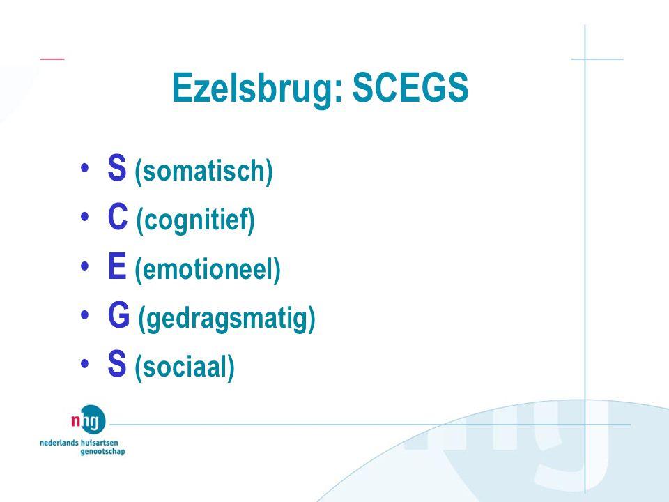Ezelsbrug: SCEGS S (somatisch) C (cognitief) E (emotioneel)