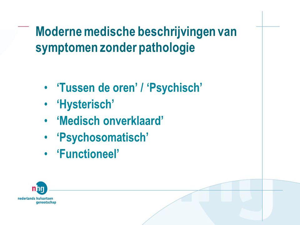 Moderne medische beschrijvingen van symptomen zonder pathologie