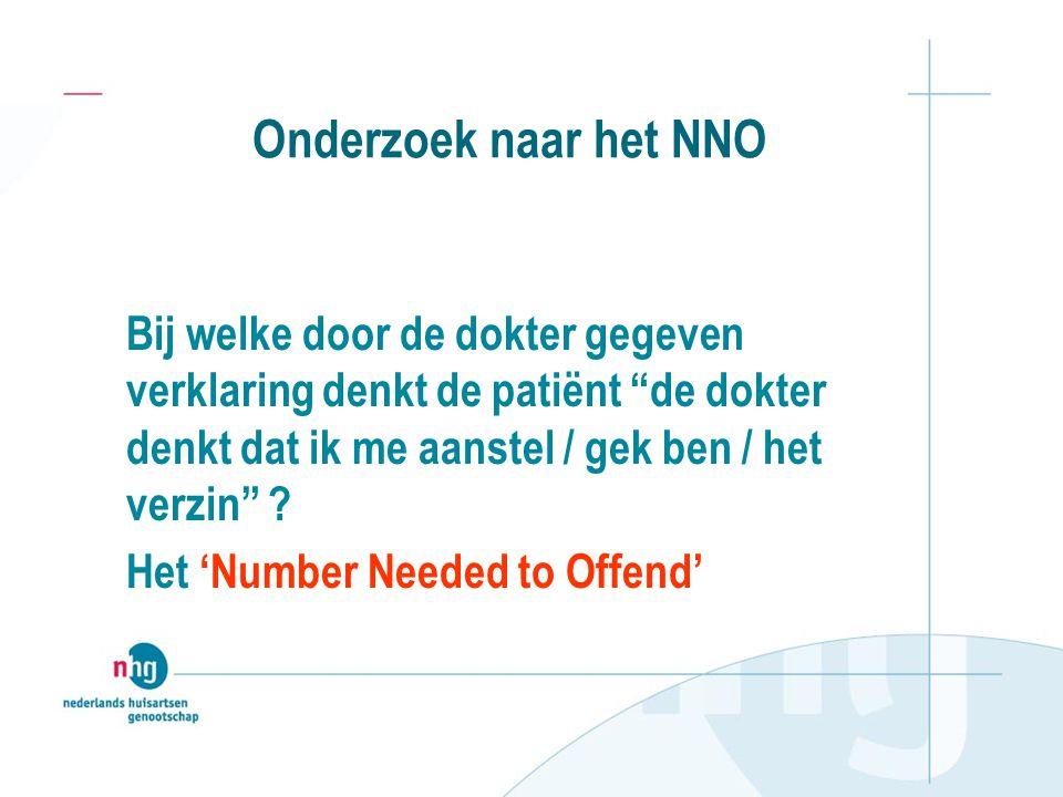 Onderzoek naar het NNO Bij welke door de dokter gegeven verklaring denkt de patiënt de dokter denkt dat ik me aanstel / gek ben / het verzin