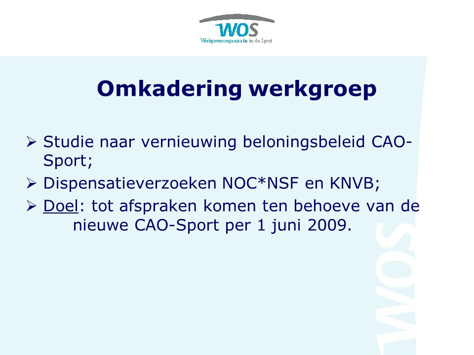 Omkadering werkgroep Studie naar vernieuwing beloningsbeleid CAO-Sport; Dispensatieverzoeken NOC*NSF en KNVB;