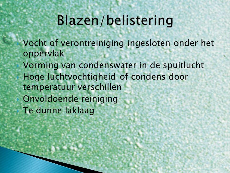 Blazen/belistering Vocht of verontreiniging ingesloten onder het oppervlak. Vorming van condenswater in de spuitlucht.
