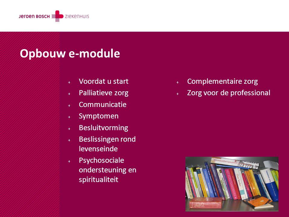 Opbouw e-module Voordat u start Palliatieve zorg Communicatie