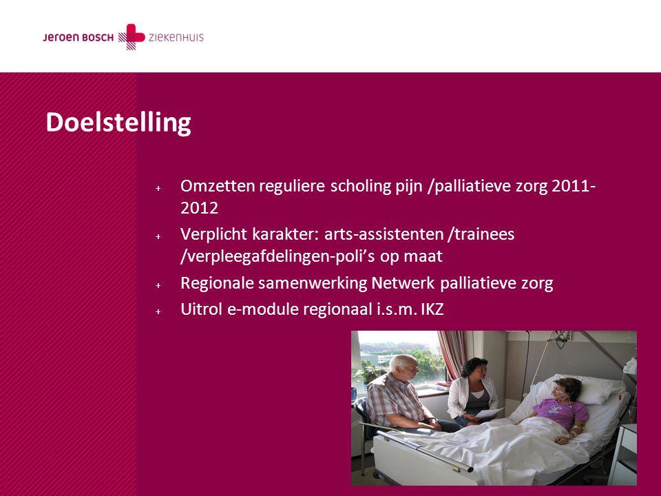 Doelstelling Omzetten reguliere scholing pijn /palliatieve zorg 2011-2012.