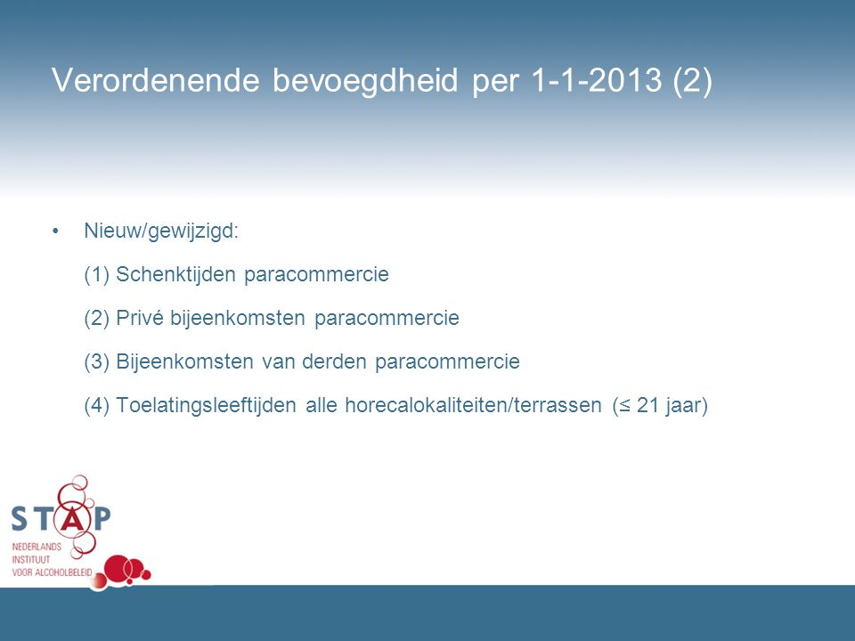 Verordenende bevoegdheid per 1-1-2013 (2)
