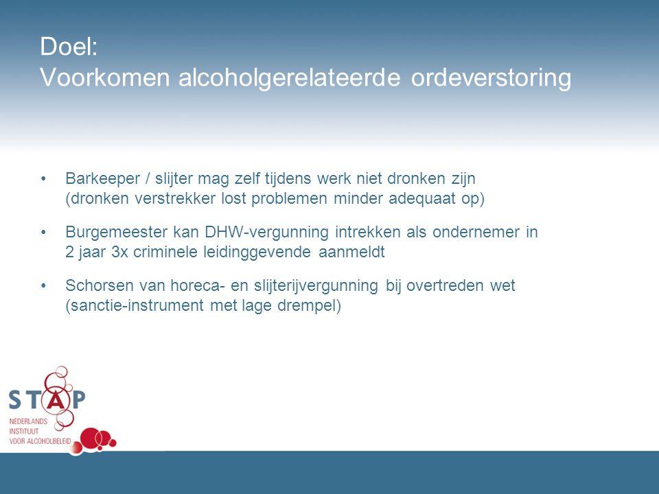 Doel: Voorkomen alcoholgerelateerde ordeverstoring