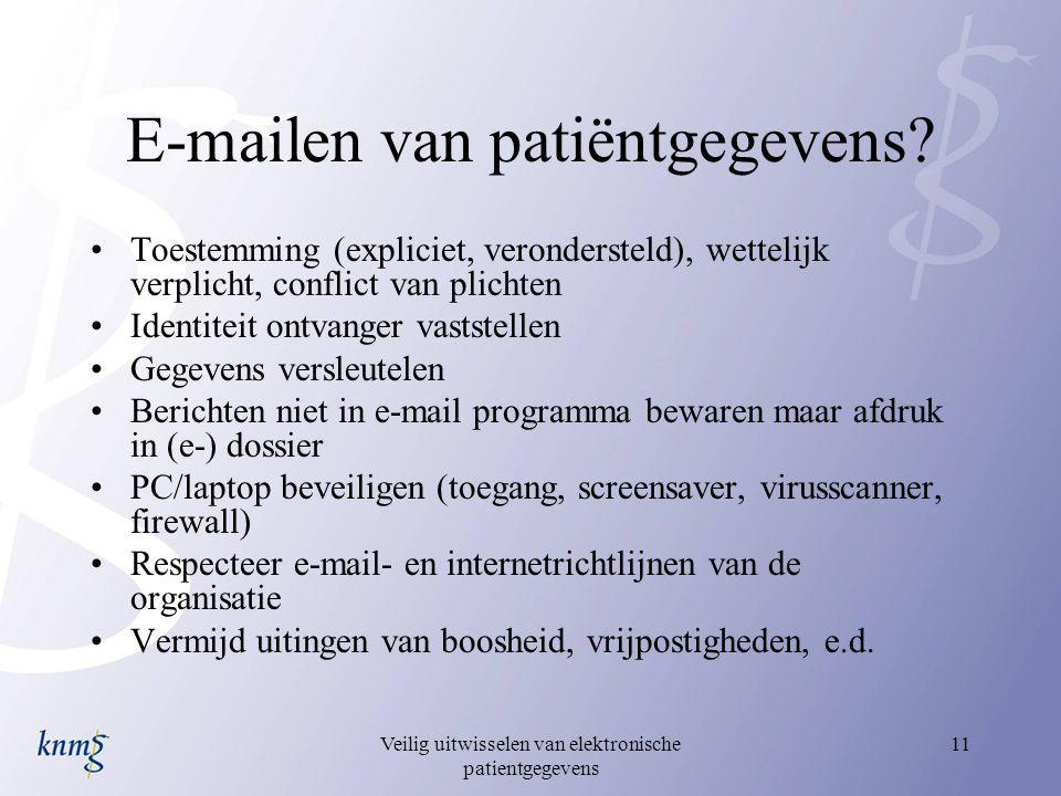 E-mailen van patiëntgegevens