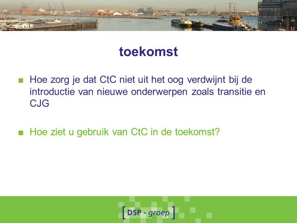 toekomst Hoe zorg je dat CtC niet uit het oog verdwijnt bij de introductie van nieuwe onderwerpen zoals transitie en CJG.