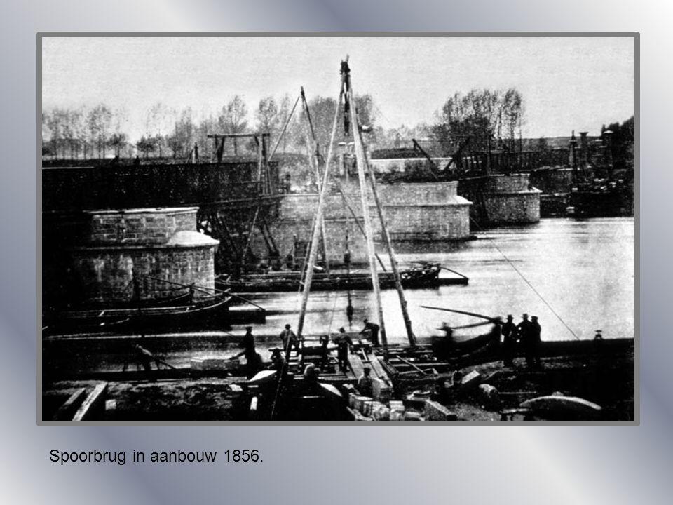 Spoorbrug in aanbouw 1856.