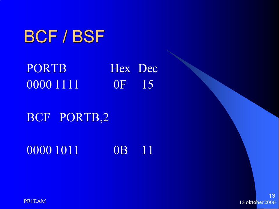BCF / BSF PORTB Hex Dec 0000 1111 0F 15 BCF PORTB,2 0000 1011 0B 11