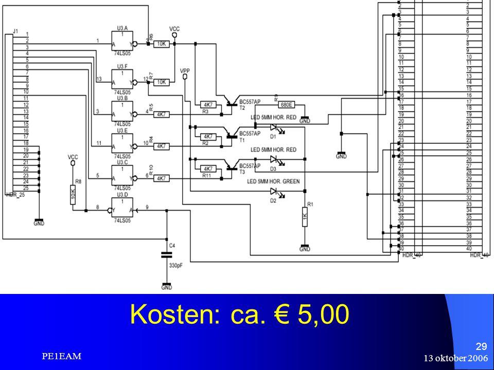 Kosten: ca. € 5,00 PE1EAM 13 oktober 2006