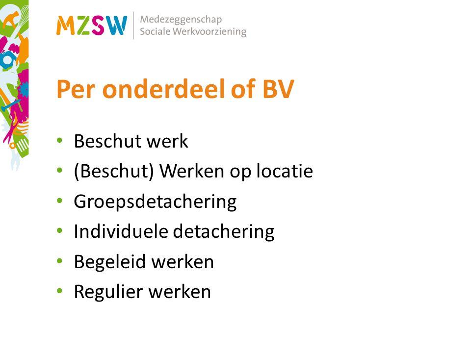 Per onderdeel of BV Beschut werk (Beschut) Werken op locatie