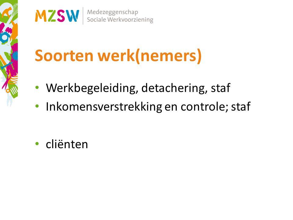 Soorten werk(nemers) Werkbegeleiding, detachering, staf