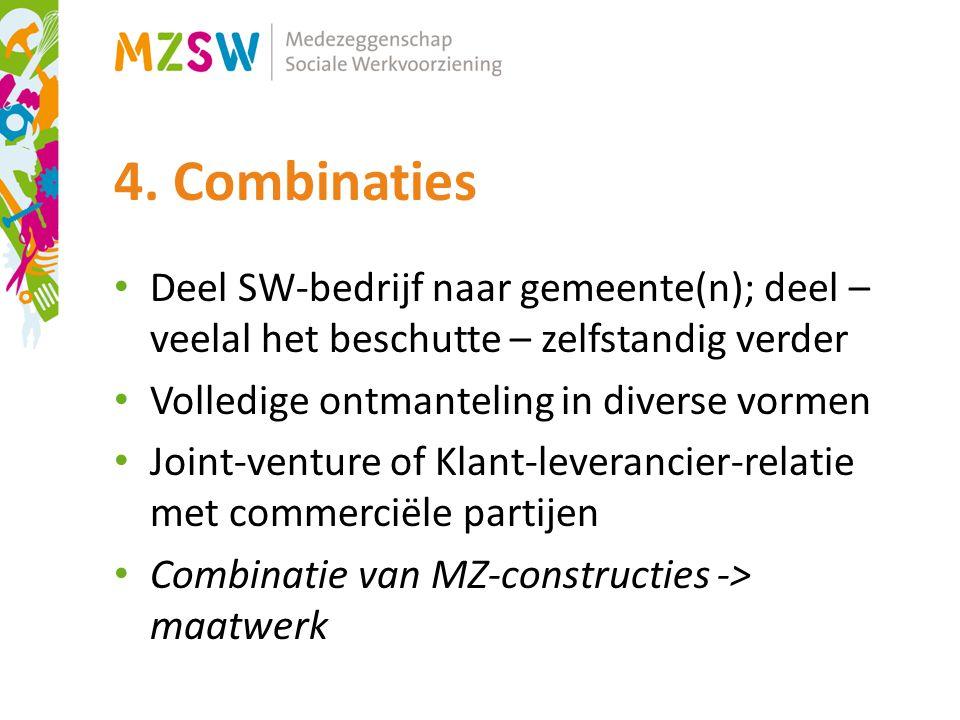 4. Combinaties Deel SW-bedrijf naar gemeente(n); deel – veelal het beschutte – zelfstandig verder. Volledige ontmanteling in diverse vormen.