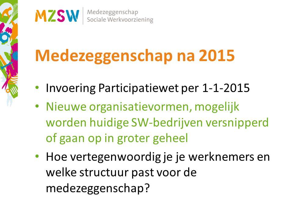 Medezeggenschap na 2015 Invoering Participatiewet per 1-1-2015