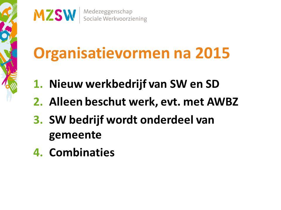 Organisatievormen na 2015 Nieuw werkbedrijf van SW en SD
