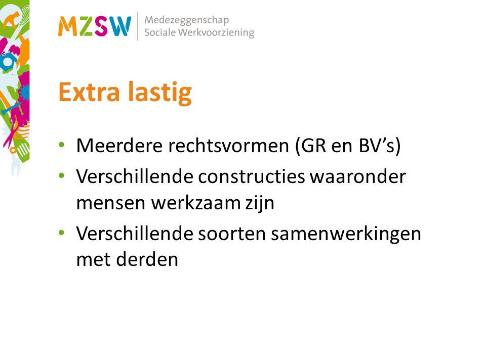 Extra lastig Meerdere rechtsvormen (GR en BV's)