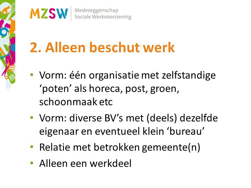 2. Alleen beschut werk Vorm: één organisatie met zelfstandige 'poten' als horeca, post, groen, schoonmaak etc.