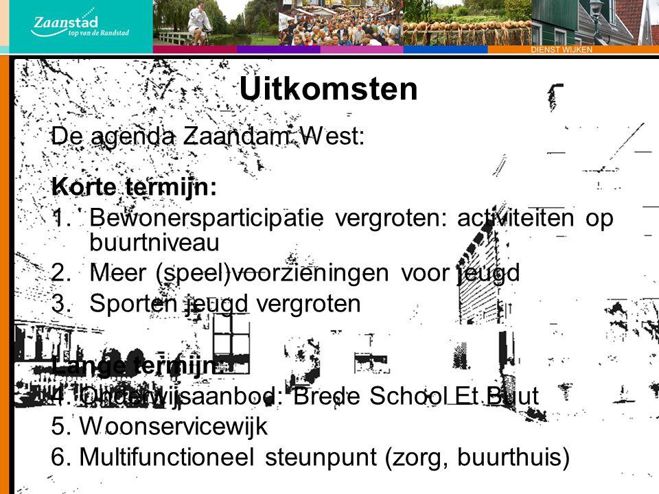 Uitkomsten De agenda Zaandam West: Korte termijn: