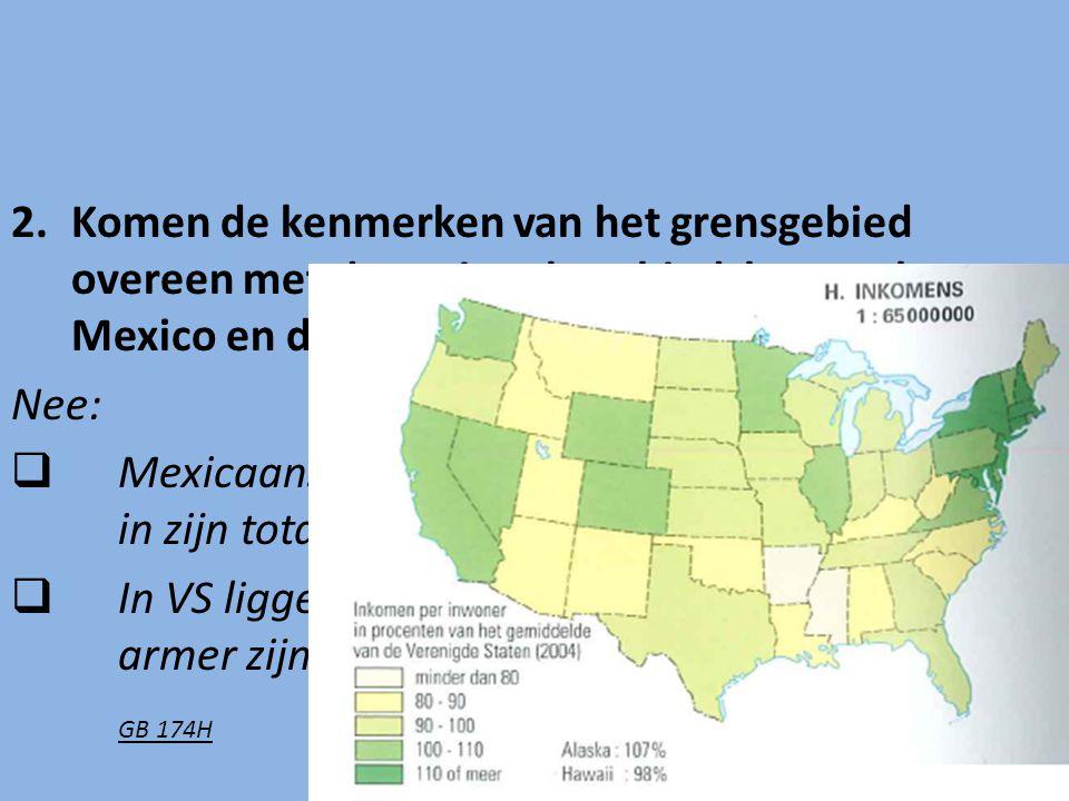 Komen de kenmerken van het grensgebied overeen met de nationale gebiedskenmerken van Mexico en de VS