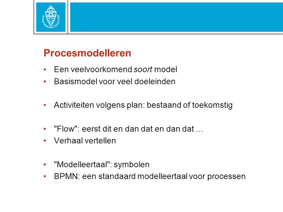 Procesmodelleren Een veelvoorkomend soort model