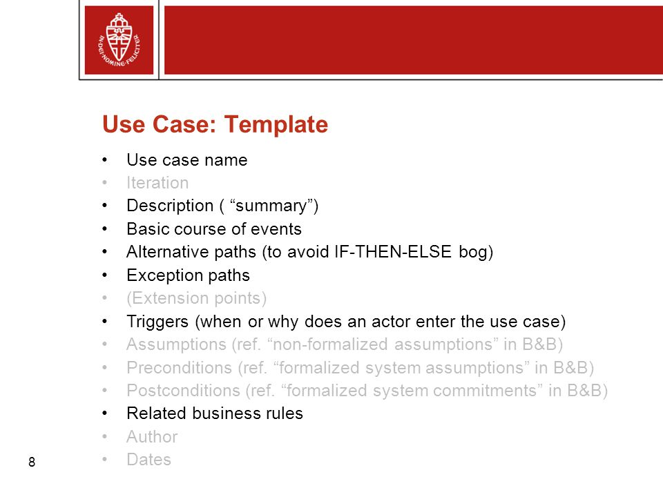 Use Case: Template Use case name Iteration Description ( summary )