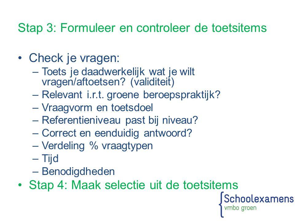 Stap 3: Formuleer en controleer de toetsitems