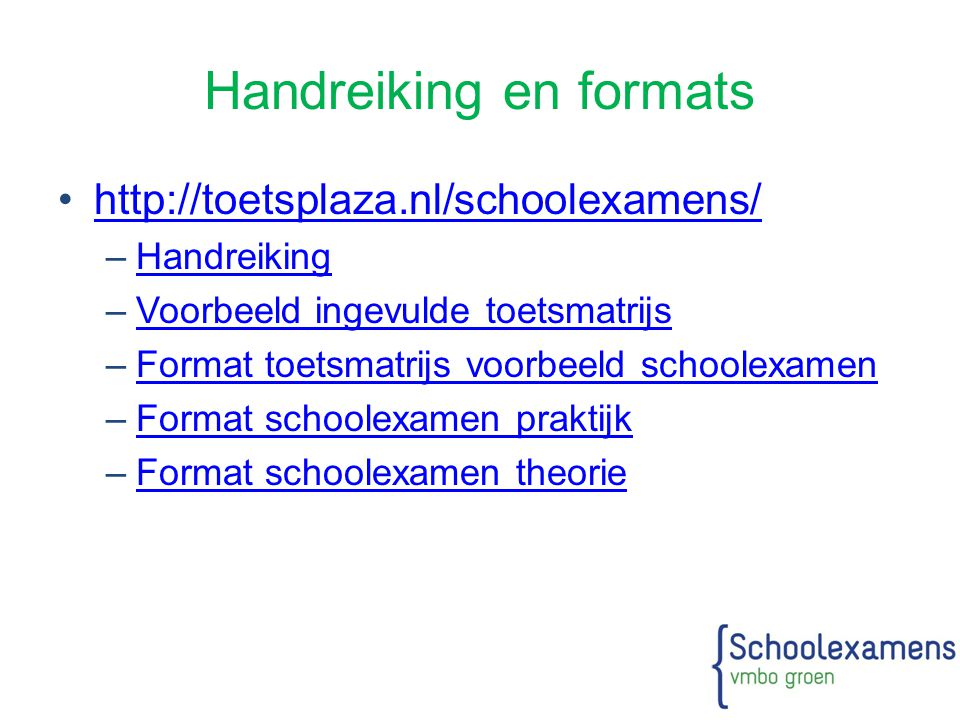 Handreiking en formats