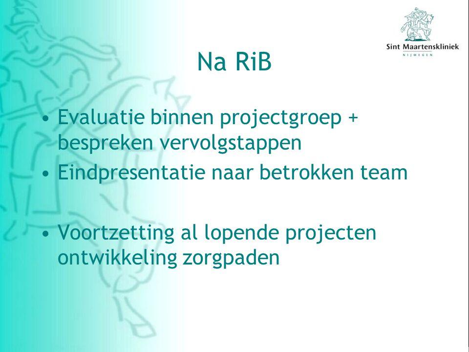 Na RiB Evaluatie binnen projectgroep + bespreken vervolgstappen