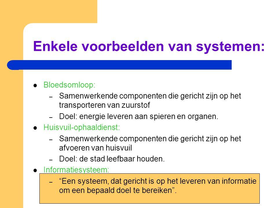 Enkele voorbeelden van systemen: