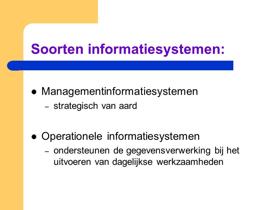 Soorten informatiesystemen: