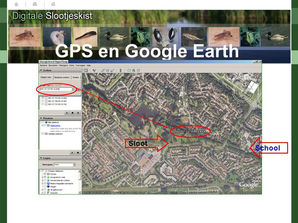 GPS en Google Earth Sloot School