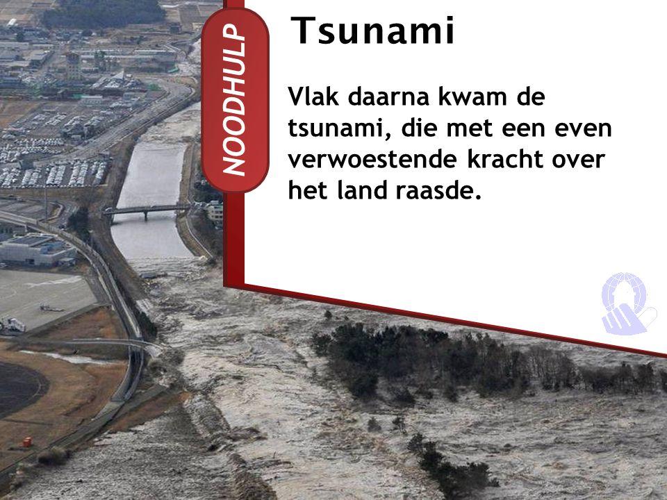 Tsunami Vlak daarna kwam de tsunami, die met een even verwoestende kracht over het land raasde.