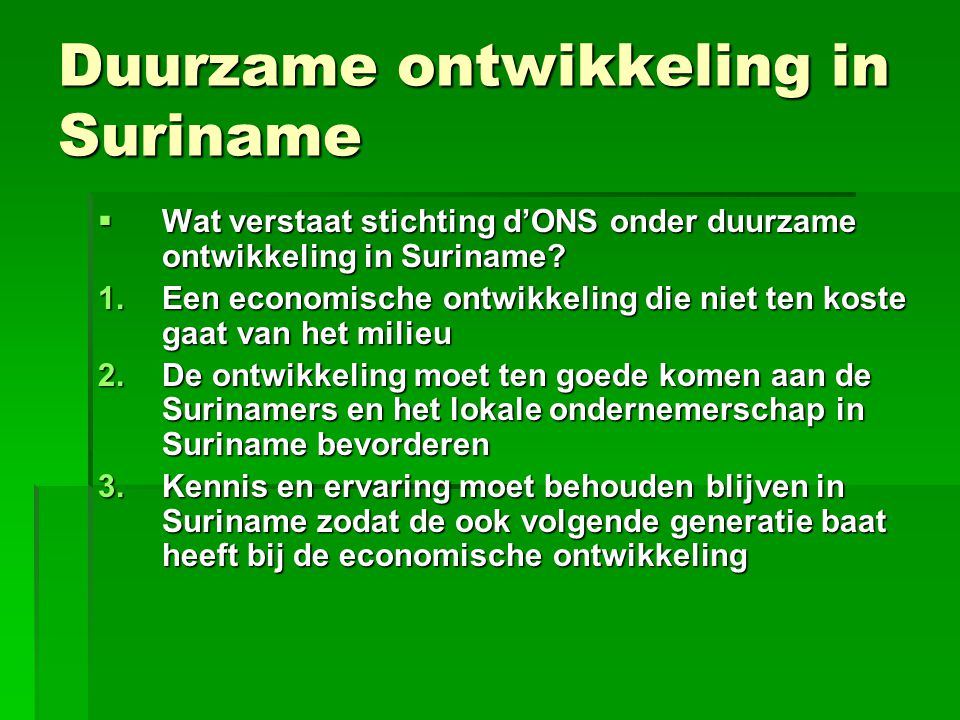 Duurzame ontwikkeling in Suriname