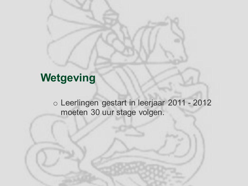 Wetgeving Leerlingen gestart in leerjaar 2011 - 2012 moeten 30 uur stage volgen.