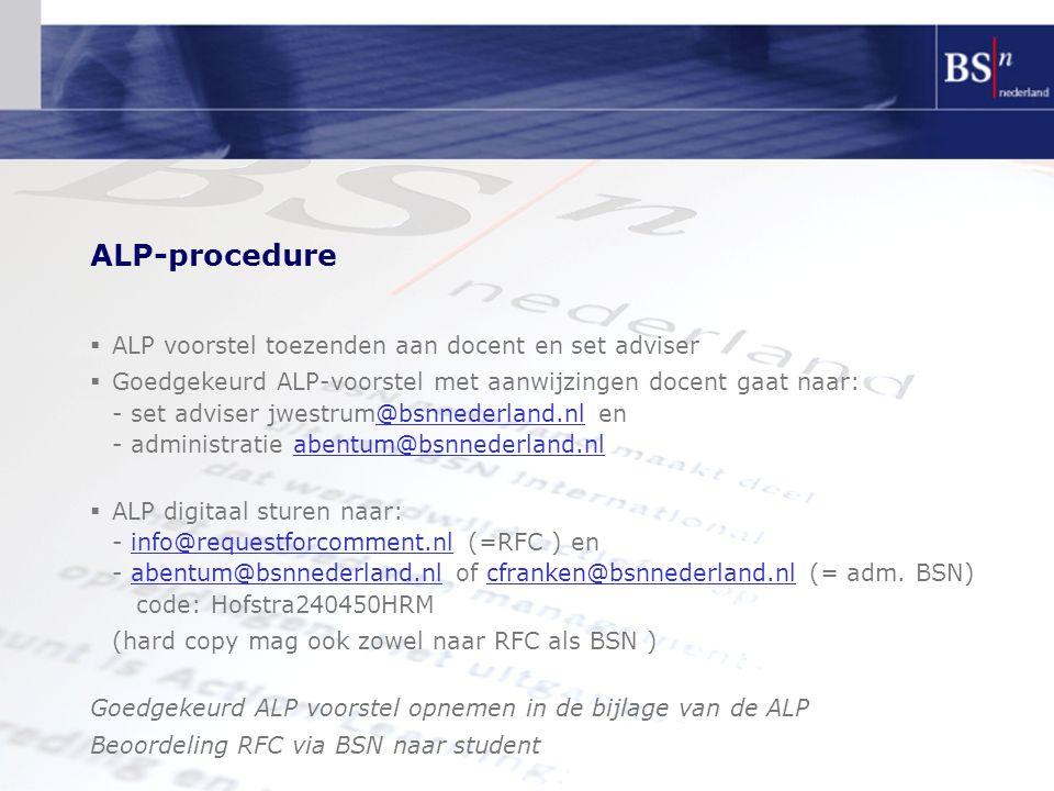 ALP-procedure ALP voorstel toezenden aan docent en set adviser