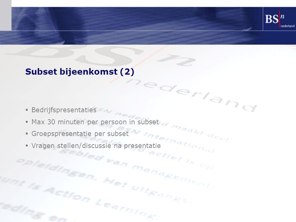 Subset bijeenkomst (2) Bedrijfspresentaties