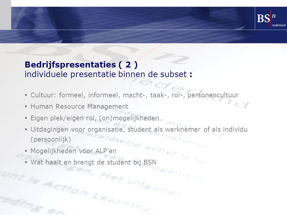 Bedrijfspresentaties ( 2 ) individuele presentatie binnen de subset :