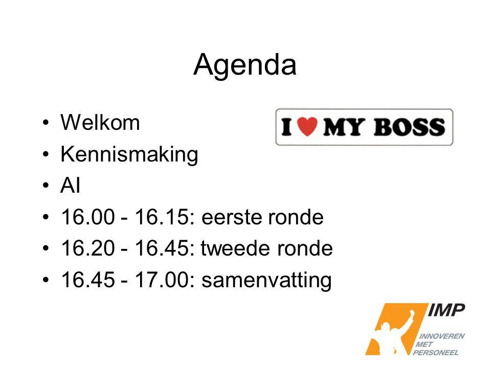 Agenda Welkom Kennismaking AI 16.00 - 16.15 : eerste ronde