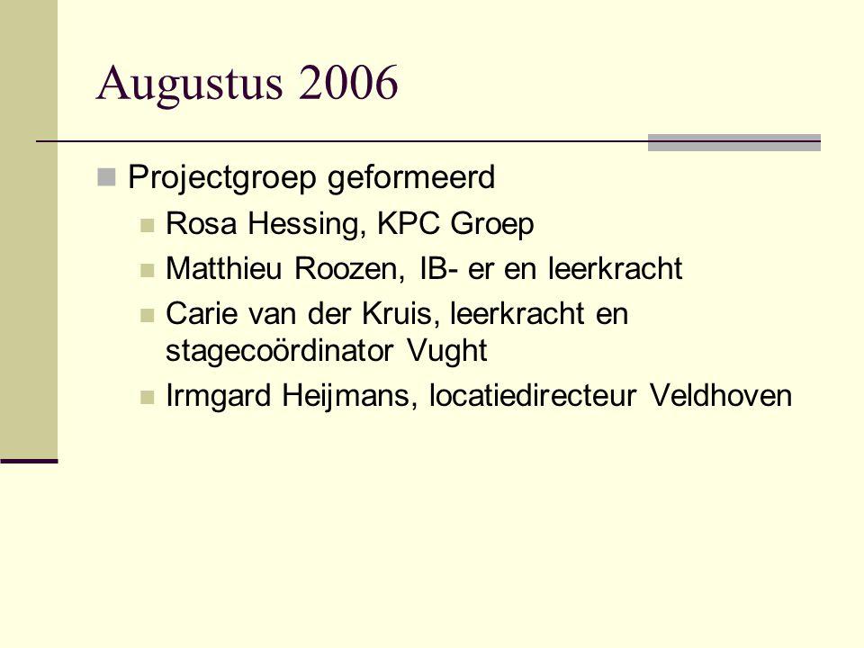 Augustus 2006 Projectgroep geformeerd Rosa Hessing, KPC Groep
