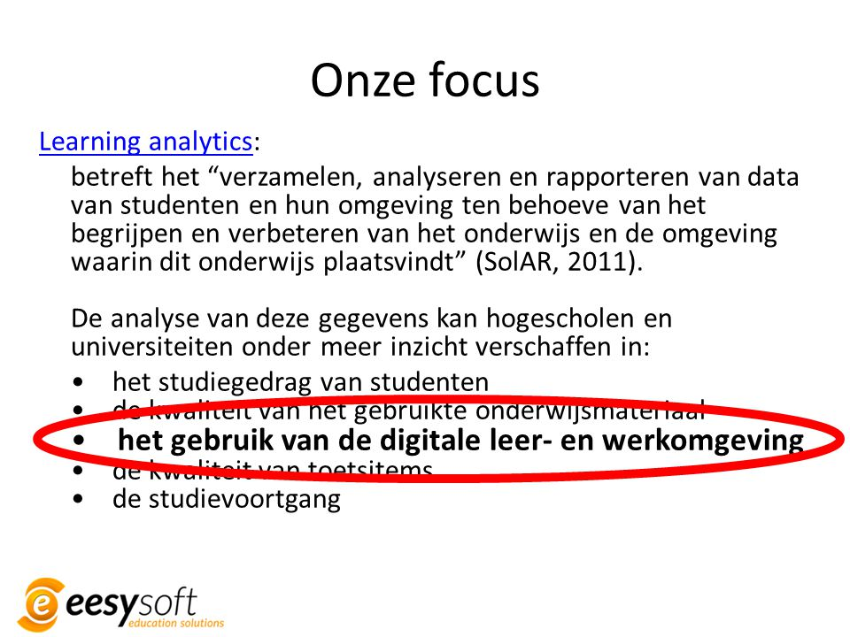 Onze focus Learning analytics: