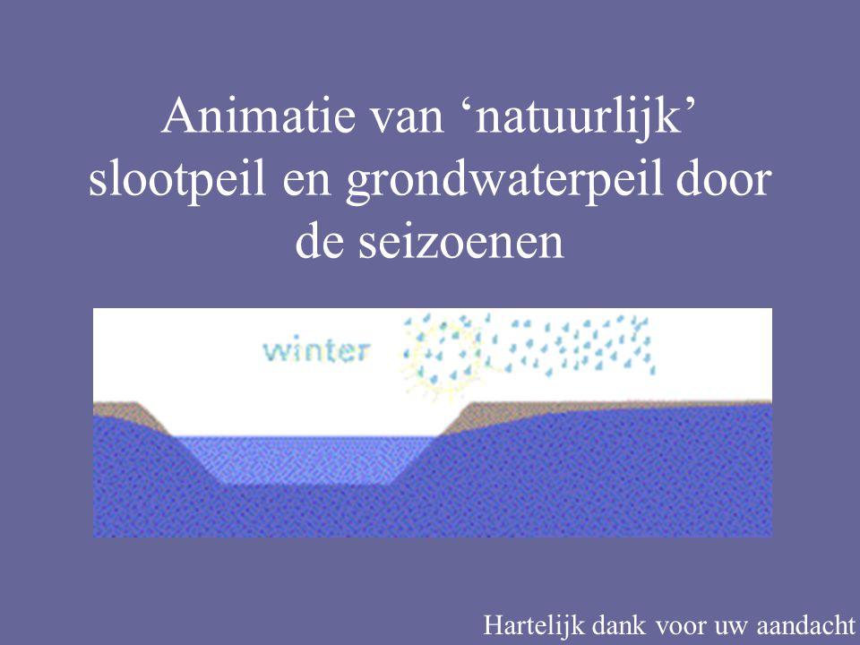 Animatie van 'natuurlijk' slootpeil en grondwaterpeil door de seizoenen