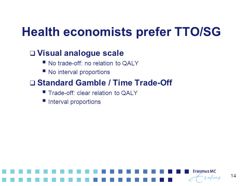 Health economists prefer TTO/SG